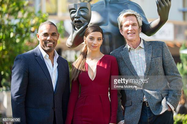 Actor Jason George and SAG Award Nominees Angela Sarafyan and Matthew Modine greet the SAG Awards Actor statue at The Grove on January 25 2017 in Los...