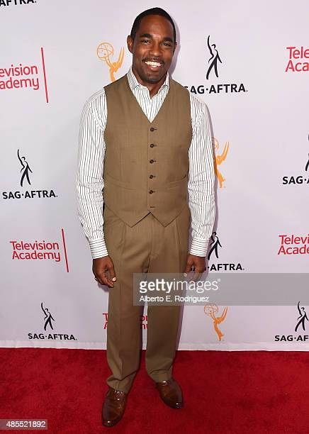 Actor Jason George attends a cocktail party celebrating dynamic and diverse nominees for the 67th Emmy Awards hosted by the Academy of Television...