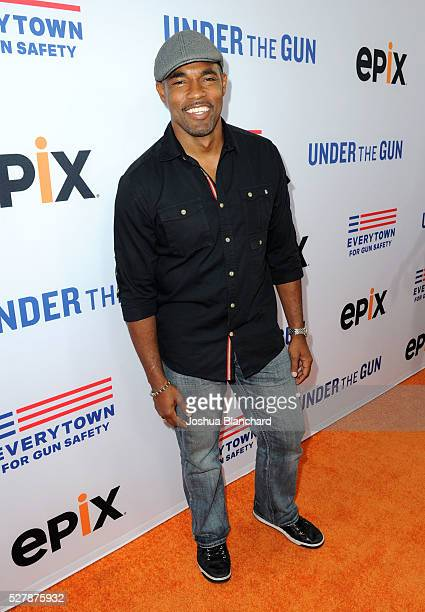 Actor Jason George attends the 'Under The Gun' LA premiere featuring Katie Couric and Stephanie Soechtig at Samuel Goldwyn Theater on May 3 2016 in...