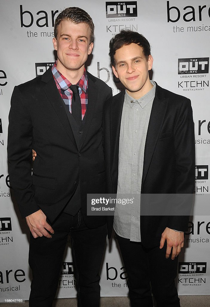 Actor Jason Hite (L) and Taylor Trensch attend 'BARE The Musical' Opening Night After Party at Out Hotel on December 9, 2012 in New York City.