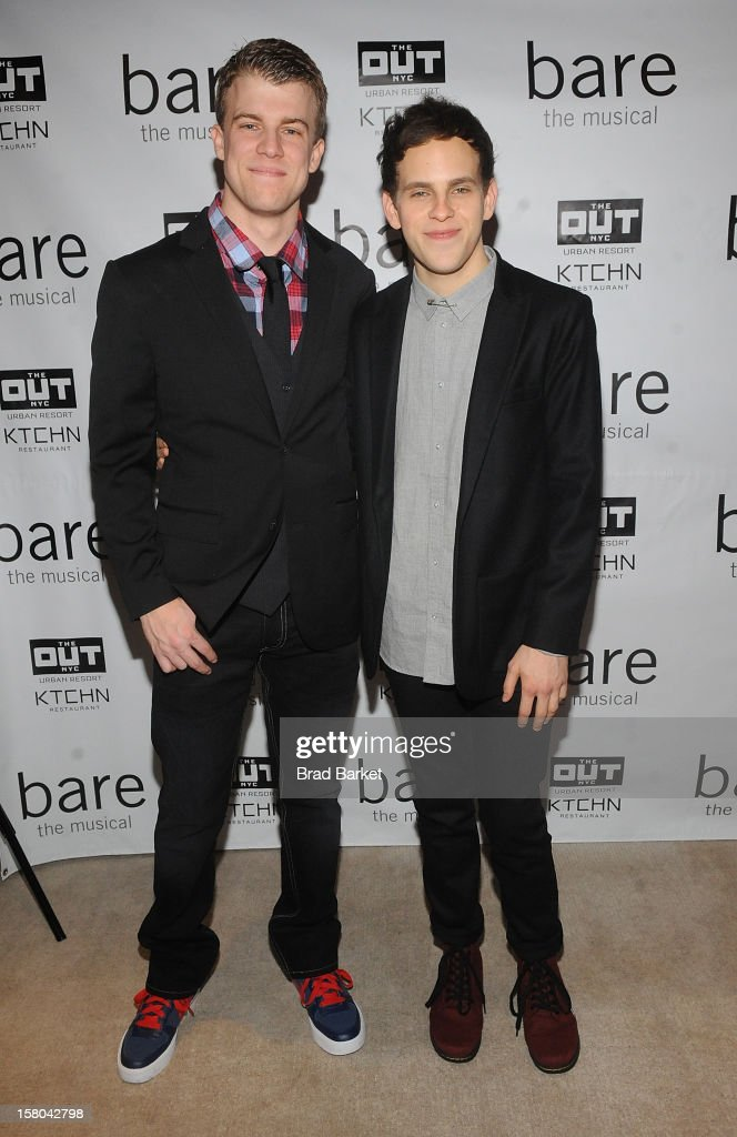 Actor Jason Hite(L) and Taylor Trensch attend 'BARE The Musical' Opening Night After Party at Out Hotel on December 9, 2012 in New York City.