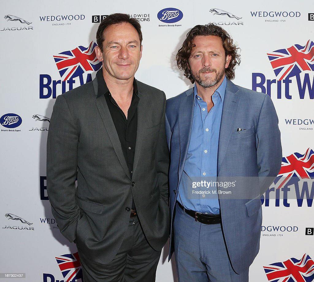 Actor <a gi-track='captionPersonalityLinkClicked' href=/galleries/search?phrase=Jason+Isaacs&family=editorial&specificpeople=212740 ng-click='$event.stopPropagation()'>Jason Isaacs</a> (L) and Gary Love attend the launch of the Seventh Annual Britweek Festival 'A Salute to Old Hollywood' on April 23, 2013 in Los Angeles, California.