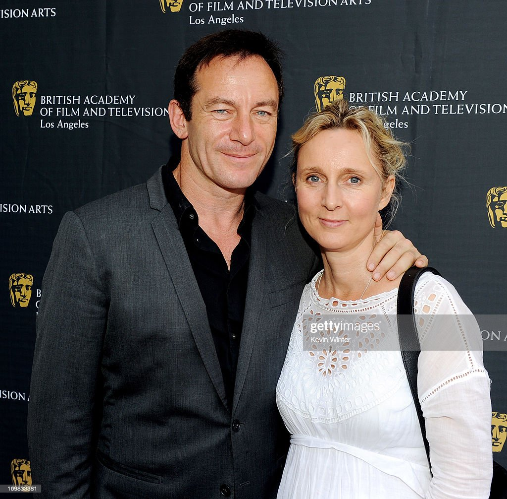 Actor <a gi-track='captionPersonalityLinkClicked' href=/galleries/search?phrase=Jason+Isaacs&family=editorial&specificpeople=212740 ng-click='$event.stopPropagation()'>Jason Isaacs</a> (L) and his wife Emma arrive at the 26th Annual BAFTA LA Garden Party at the British Consul-General's official residence on June 2, 2013 in Los Angeles, California.