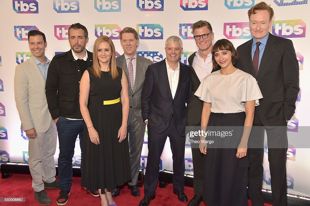 Actor Jason Jones comedian Samantha Bee chairman and CEO of Turner John Martin President of Turner David Levy CCO of Turner Entertainment Kevin...