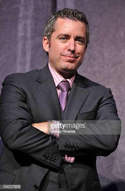 Actor Jason Jones stands onstage at 'A Beginner's Guide To Endings' Premiere introduction during the 35th Toronto International Film Festival at Roy...