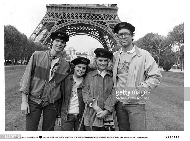 Actor Jason Lively and actresses Dana Hill and Beverly D'Angelo and actor Chevy Chase on set of the Warner Bros movie National Lampoon's 'European...