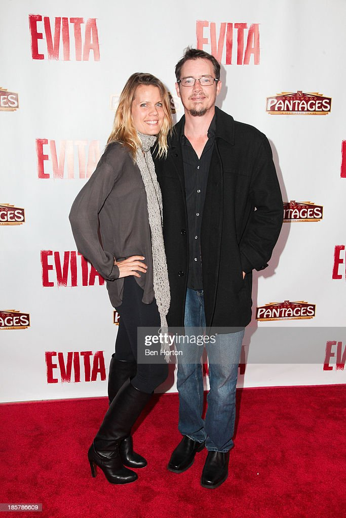 Actor <a gi-track='captionPersonalityLinkClicked' href=/galleries/search?phrase=Jason+London&family=editorial&specificpeople=703967 ng-click='$event.stopPropagation()'>Jason London</a> and his wife Sofia Karstens attend the 'Evita' Los Angeles opening night at the Pantages Theatre on October 24, 2013 in Hollywood, California.