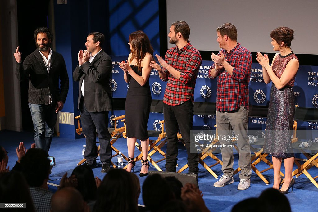 Actor Jason Mantzoukas, executive producers Jeff Schaffer and Jackie Marcus Schaffer, actors Jon Lajoie, Stephen Rannazzisi, and Katie Aselton attend a Q&A at PaleyLive's 'The League: A Fond Farewell' at The Paley Center for Media on December 8, 2015 in Beverly Hills, California.
