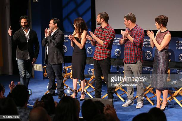 Actor Jason Mantzoukas executive producers Jeff Schaffer and Jackie Marcus Schaffer actors Jon Lajoie Stephen Rannazzisi and Katie Aselton attend a...