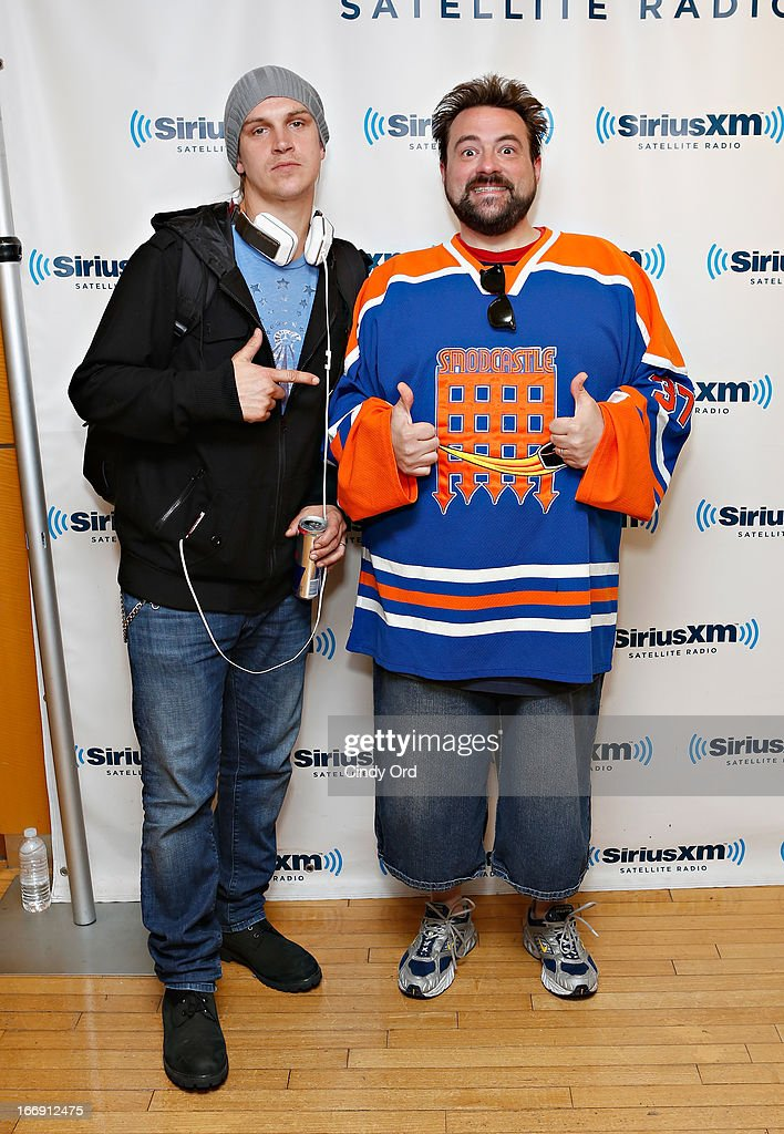 Actor <a gi-track='captionPersonalityLinkClicked' href=/galleries/search?phrase=Jason+Mewes&family=editorial&specificpeople=754495 ng-click='$event.stopPropagation()'>Jason Mewes</a> and actor, writer and director Kevin Smith visit the SiriusXM Studios on April 18, 2013 in New York City.