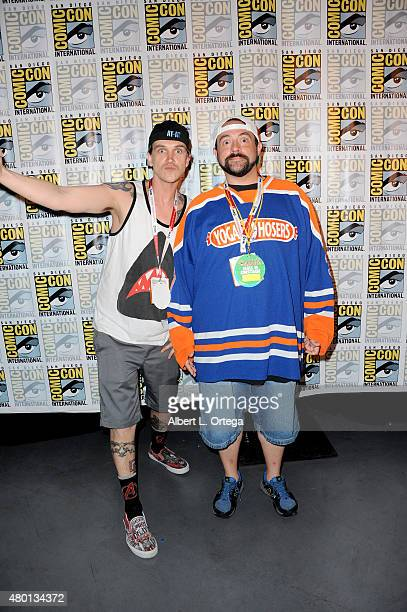 Actor Jason Mewes and filmmaker Kevin Smith attend the world premiere of 'ScoobyDoo and KISS Rock and Roll Mystery' during the ComicCon International...