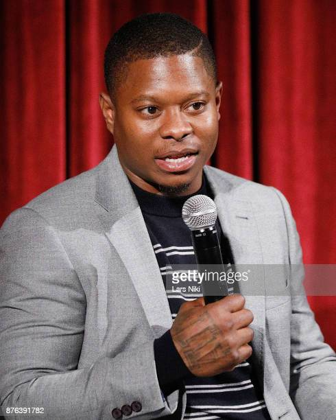 Actor Jason Mitchell on stage during The Academy of Motion Picture Arts Sciences Official Academy Screening of Mudbound at the MOMA Celeste Bartos...