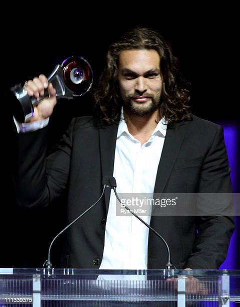 Actor Jason Momoa accepts the Male Rising Star of 2011 award onstage during the CinemaCon awards ceremony at The Colosseum at Caesars Palace during...