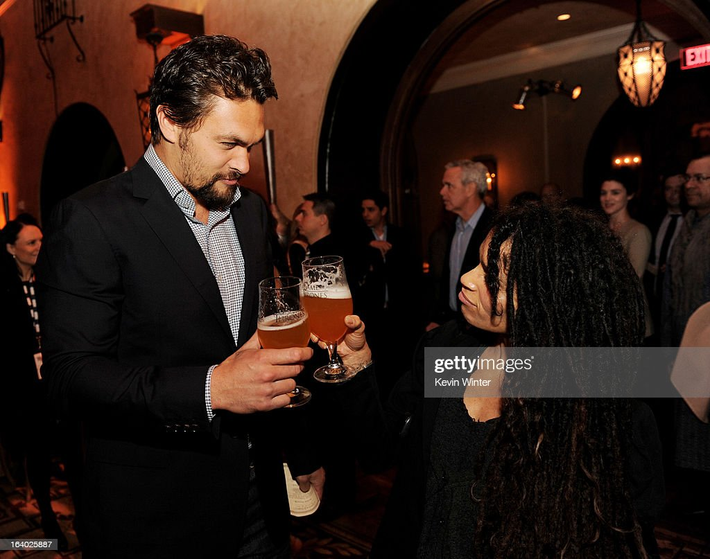 Actor <a gi-track='captionPersonalityLinkClicked' href=/galleries/search?phrase=Jason+Momoa&family=editorial&specificpeople=2310586 ng-click='$event.stopPropagation()'>Jason Momoa</a> (L) and his wife actress <a gi-track='captionPersonalityLinkClicked' href=/galleries/search?phrase=Lisa+Bonet&family=editorial&specificpeople=748233 ng-click='$event.stopPropagation()'>Lisa Bonet</a> pose at the after party for the premiere of HBO's 'Game Of Thrones' at the Roosevelt Hotel on March 18, 2013 in Los Angeles, California.