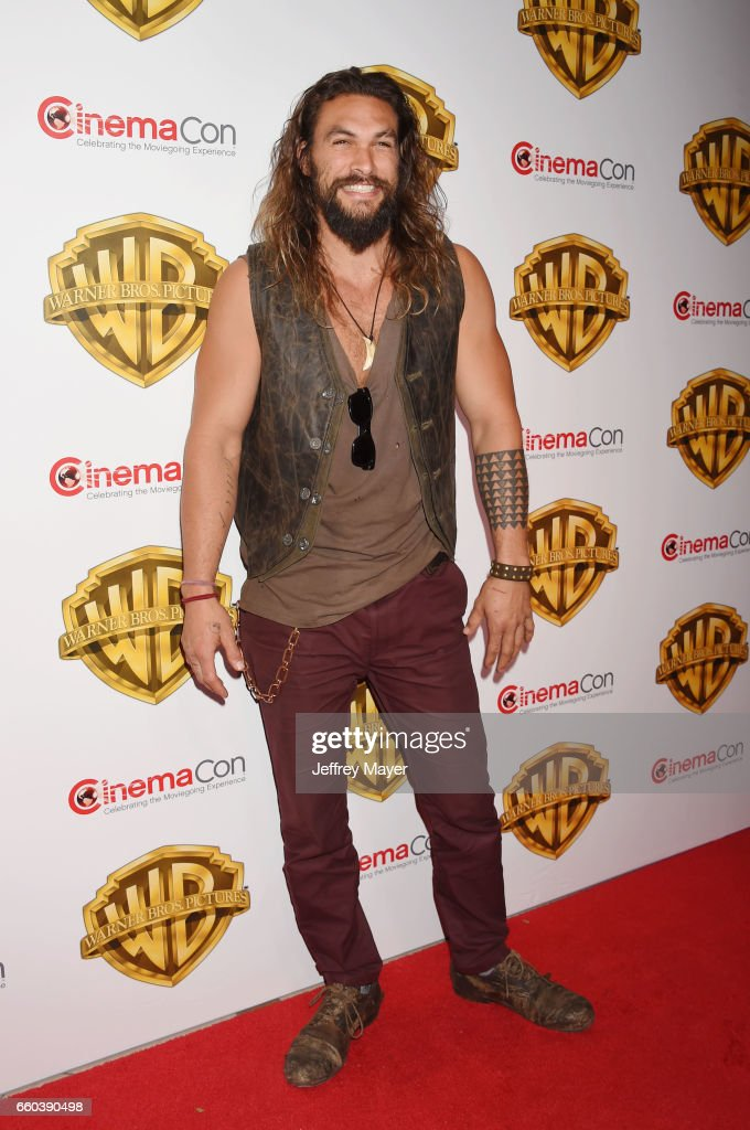 Actor Jason Momoa arrives at the CinemaCon 2017 Warner Bros. Pictures presentation of their upcoming slate of films at The Colosseum at Caesars Palace on March 29, 2017 in Las Vegas, Nevada.