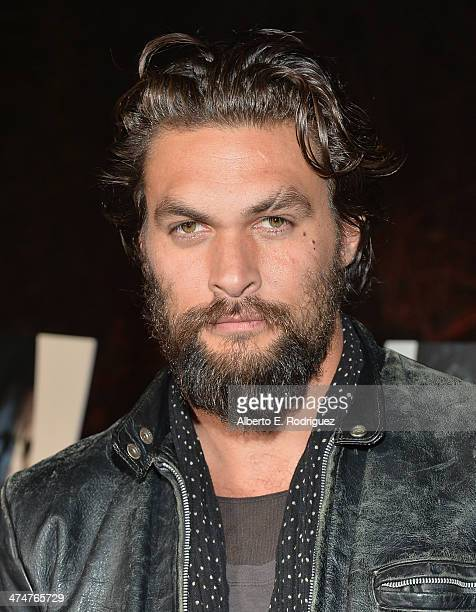 Actor Jason Momoa attends a screening of Sundance Channel's 'The Red Road' at The Bronson Caves at Griffith Park on February 24 2014 in Los Angeles...