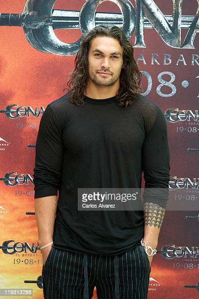 Actor Jason Momoa attends 'Conan The Barbarian' photocall at the Villamagna Hotel on July 18 2011 in Madrid Spain