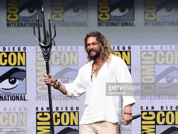 Actor Jason Momoa attends the Warner Bros Pictures 'Justice League' Presentation during ComicCon International 2017 at San Diego Convention Center on...