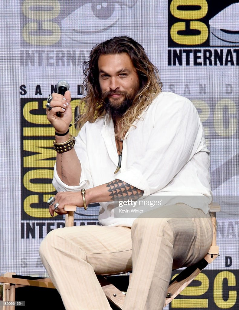 Actor Jason Momoa attends the Warner Bros. Pictures 'Justice League' Presentation during Comic-Con International 2017 at San Diego Convention Center on July 22, 2017 in San Diego, California.