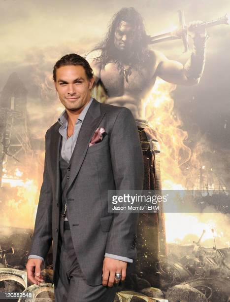 Actor Jason Momoa attends the world premiere of 'Conan The Barbarian' held at Regal Cinemas LA Live on August 11 2011 in Los Angeles California