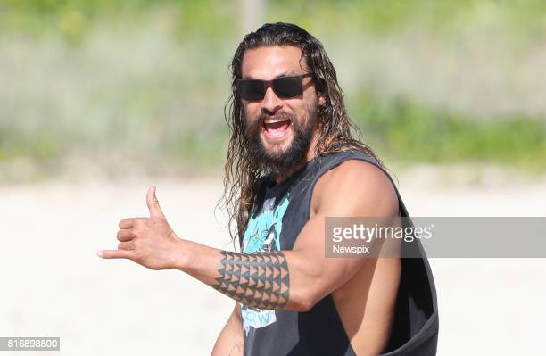 COAST QLD Actor Jason Momoa enjoys a walk at Currumbin Alley on the Gold Coast Queensland The actor was taking a break during the filming of 'Aquaman'