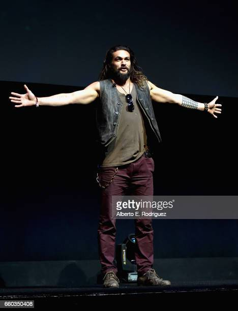"""Actor Jason Momoa onstage at CinemaCon 2017 Warner Bros Pictures Invites You to """"The Big Picture"""" an Exclusive Presentation of our Upcoming Slate at..."""