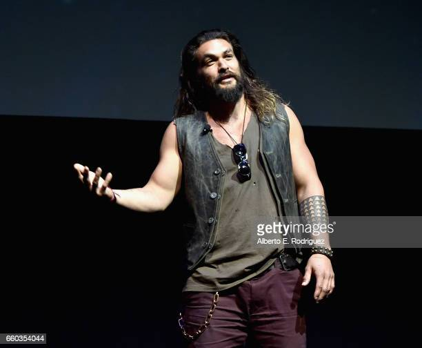 """Actor Jason Momoa speaks onstage at CinemaCon 2017 Warner Bros Pictures Invites You to """"The Big Picture"""" an Exclusive Presentation of our Upcoming..."""