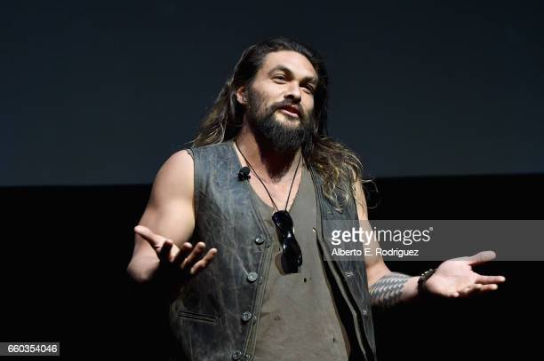 "Actor Jason Momoa speaks onstage at CinemaCon 2017 Warner Bros Pictures Invites You to ""The Big Picture"" an Exclusive Presentation of our Upcoming..."