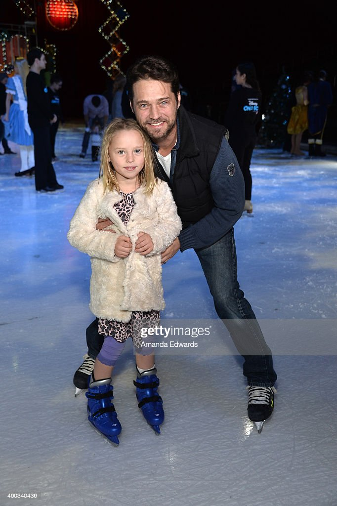 Actor Jason Priestley and his daughter Ava Priestley attend the Disney On Ice Presents Let's Celebrate! event at Staples Center on December 11, 2014 in Los Angeles, California.
