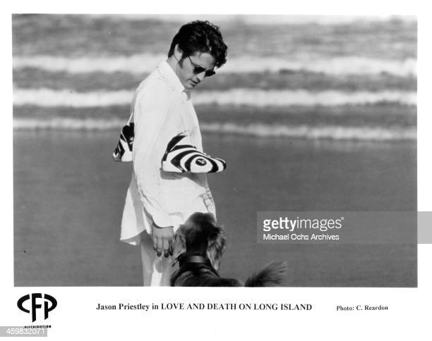 Actor Jason Priestley on set of the movie 'Love and Death on Long Island' circa 1997