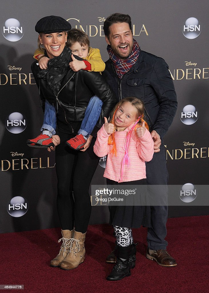 Actor Jason Priestley, wife Naomi Lowde-Priestley, son Dashiell Orson Priestley and daughter Ava Veronica Priestley arrive at the World Premiere of Disney's 'Cinderella' at the El Capitan Theatre on March 1, 2015 in Hollywood, California.