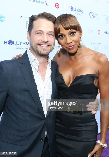 Actor Jason Priestly and actress Holly Robinson Peete attend the 16th Annual DesignCare to Benefit The HollyRod Foundation at The Lot Studios on July...