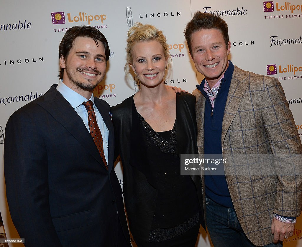 Actor Jason Ritter, actress Monica Potter and television personality Billy Bush attend the Faconnable Kicks Off The Holidays Shopping Event Benefitting Lollipop Theater Network at Faconnable on November 13, 2012 in Beverly Hills, California.