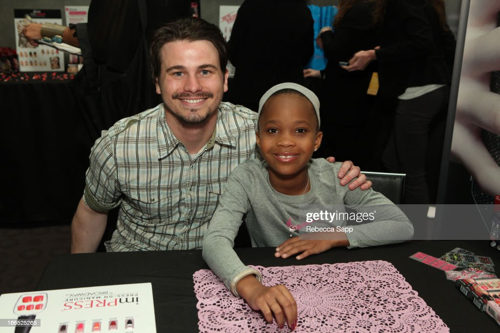 Actor <a gi-track='captionPersonalityLinkClicked' href=/galleries/search?phrase=Jason+Ritter&family=editorial&specificpeople=209201 ng-click='$event.stopPropagation()'>Jason Ritter</a> and actress Quvenzhane Wallis at GBK Gift Lounge In Honor Of The MTV Movie Award Nominees And Presenters - Day 2 at W Hollywood on April 13, 2013 in Hollywood, California.