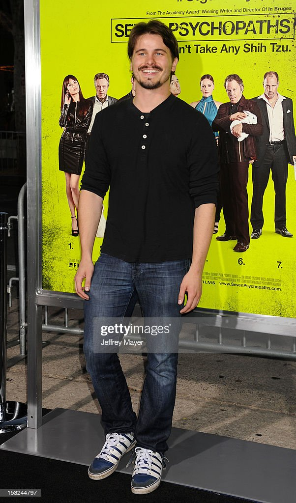 Actor Jason Ritter arrives at the Los Angeles premiere of 'Seven Psychopaths' at Mann Bruin Theatre on October 1, 2012 in Westwood, California.