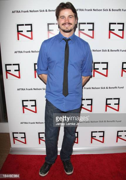 Actor Jason Ritter attends the AFTRA Foundation's Inaugural Frank Nelson Fund Celebrity Poker Party at Mulholland Tennis Club on October 20 2012 in...