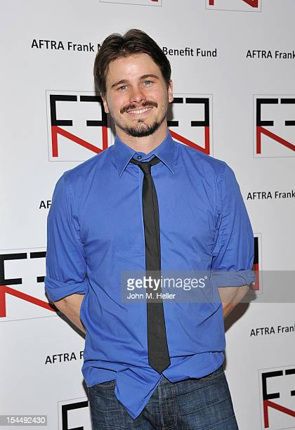 Actor Jason Ritter attends the AFTRA Foundation's Inaugural Frank Nelson Fund Celebrity Poker Party at the Mulholland Tennis Club on October 20 2012...