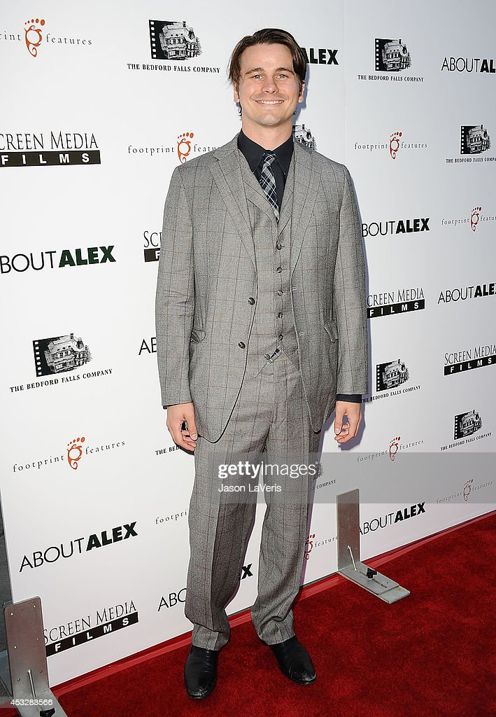 Actor <a gi-track='captionPersonalityLinkClicked' href=/galleries/search?phrase=Jason+Ritter&family=editorial&specificpeople=209201 ng-click='$event.stopPropagation()'>Jason Ritter</a> attends the premiere of 'About Alex' at ArcLight Hollywood on August 6, 2014 in Hollywood, California.