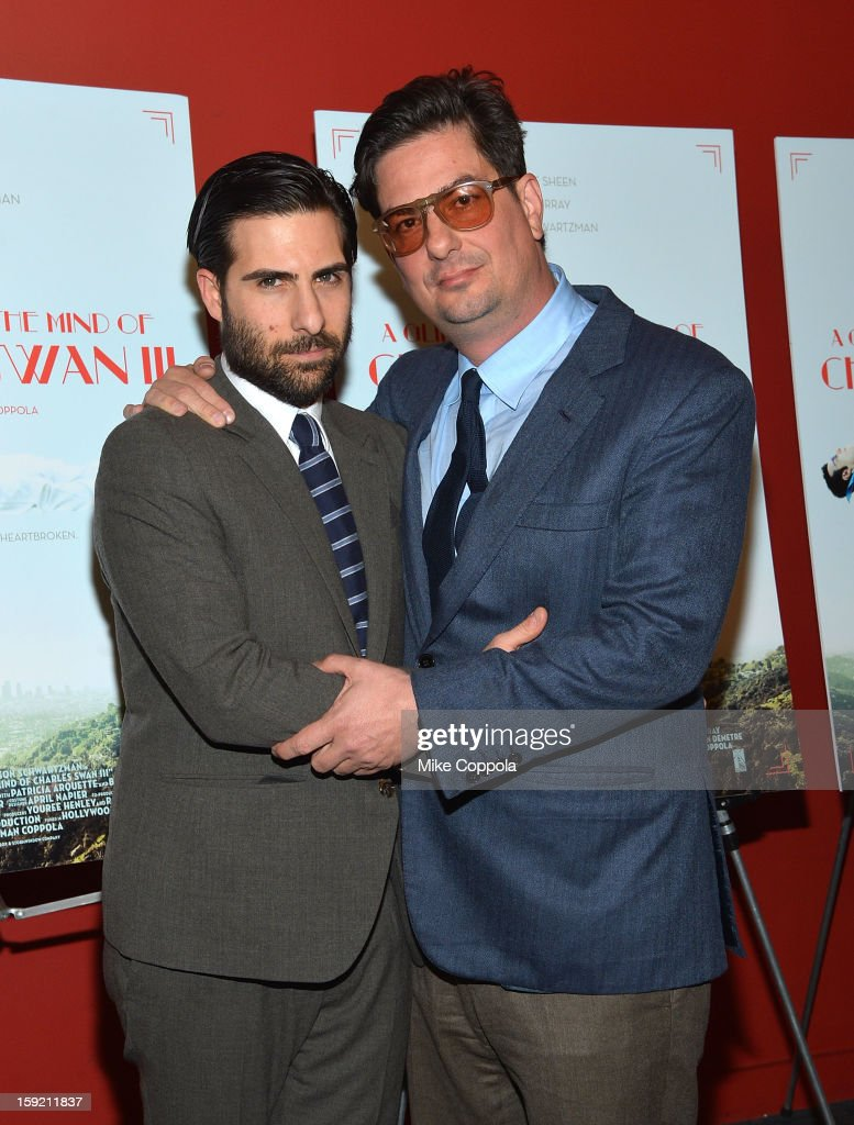 Actor Jason Schwartzman (L) and film director Roman Coppola attend a screening of 'A Glimpse Inside The Mind Of Charles Swan III' at Landmark Sunshine Cinema on January 9, 2013 in New York City.