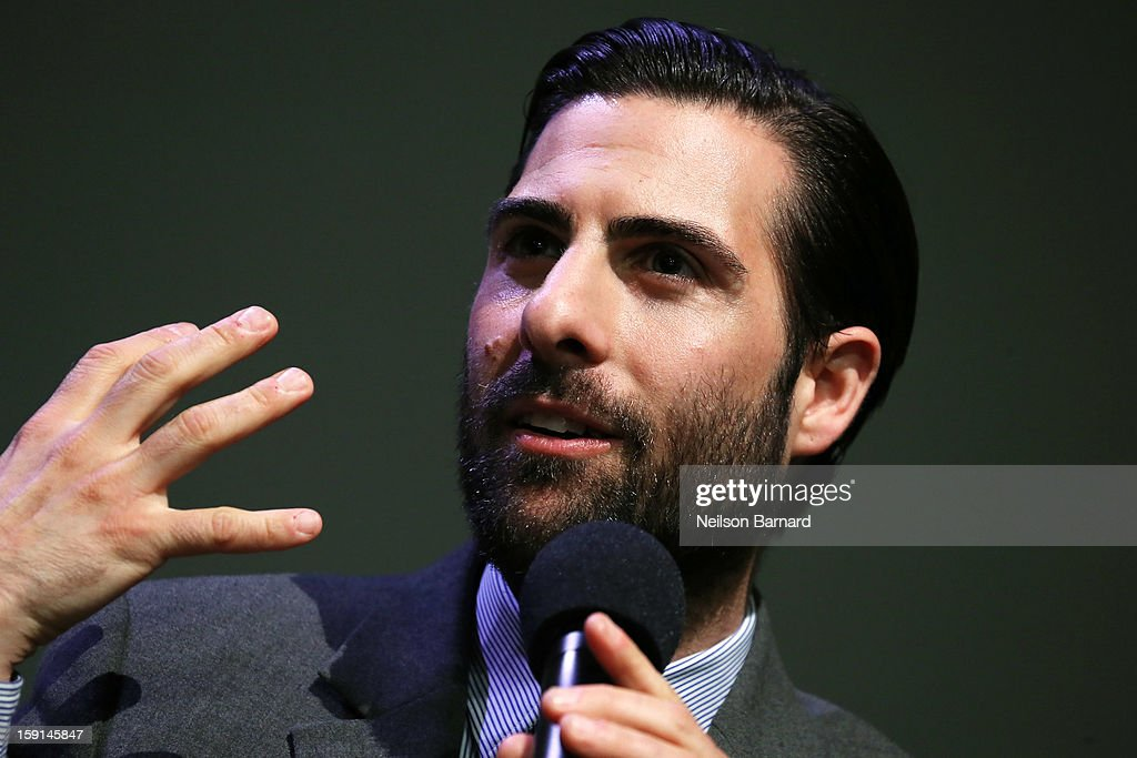 Actor <a gi-track='captionPersonalityLinkClicked' href=/galleries/search?phrase=Jason+Schwartzman&family=editorial&specificpeople=216351 ng-click='$event.stopPropagation()'>Jason Schwartzman</a> speaks on stage during the Meet The Filmmakers panel discussion for 'A Glimpse Inside The Mind Of Charles Swan III' at Apple Store Soho on January 8, 2013 in New York City.