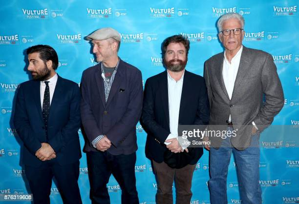 Actor Jason Schwartzman writer/producer Jonathan Ames actor Zach Galifianakis and actor Ted Danson attend the 'Bored to Death Reunion' part of...