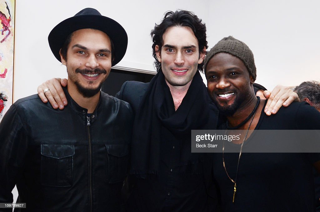 Actor Jason Scoppa, artist Alexander Yulish and actor Sammi Rotibi attend the art exhibition and opening of Alexander Yulish 'Interior Stories' at Gallery Brown on January 19, 2013 in Los Angeles, California.