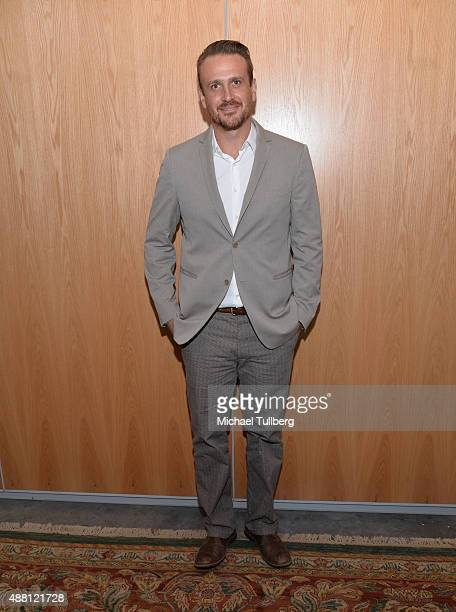 Actor Jason Segel attends a public discussion about his children's novel 'Nightmares The Sleepwalker Tonic' at Moss Theatre at New Roads School on...