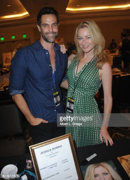 Actor Jason Shane Scott and actress Jessica Morris sign autographs at The Hollywood Show held at Westin LAX Hotel on July 8 2017 in Los Angeles...