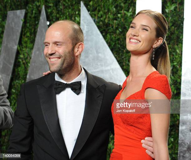Actor Jason Statham and actress Rosie HuntingtonWhiteley attend the 2012 Vanity Fair Oscar Party at Sunset Tower on February 26 2012 in West...