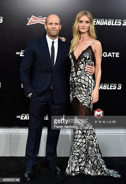 Actor Jason Statham and model Rosie HuntingtonWhiteley attend Lionsgate Films' 'The Expendables 3' premiere at TCL Chinese Theatre on August 11 2014...