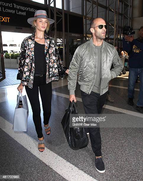 Actor Jason Statham and Rosie HuntingtonWhiteley are seen on July 23 2015 in Los Angeles California