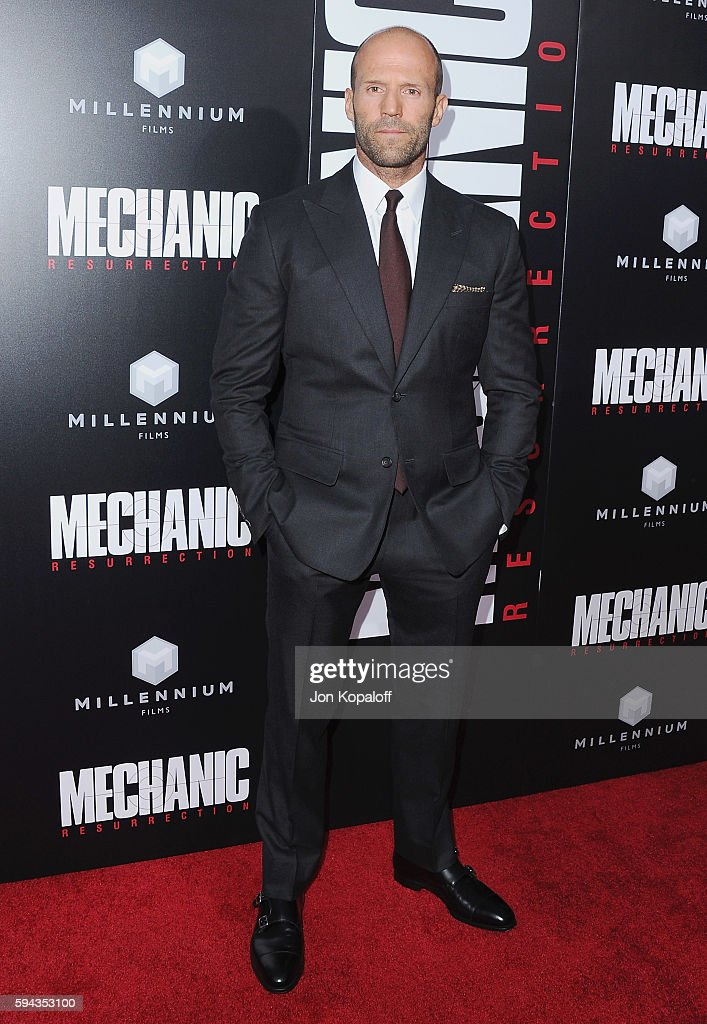 Actor Jason Statham arrives at the Los Angeles Premiere 'Mechanic Resurrection' at ArcLight Hollywood on August 22 2016 in Hollywood California