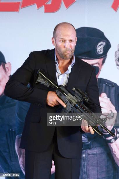 Actor Jason Statham attends 'The Expendables 3' press conference at Kempinski Hotel on August 1 2014 in Beijing China