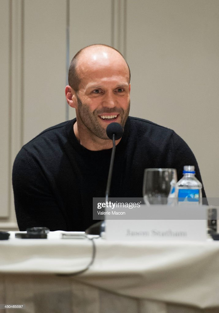 Actor <a gi-track='captionPersonalityLinkClicked' href=/galleries/search?phrase=Jason+Statham&family=editorial&specificpeople=217567 ng-click='$event.stopPropagation()'>Jason Statham</a> attends the 'Homefront' Los Angeles press conference and photo call at Four Seasons Hotel Los Angeles at Beverly Hills on November 18, 2013 in Beverly Hills, California.
